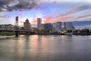 Portland Oregon Skyline at Sunset by jpldesigns