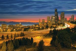 Seattle Cityscape after Sunset by jpldesigns