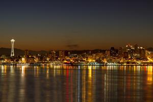 Seattle Downtown Skyline Reflection at Dawn by jpldesigns