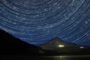 Star Trails over Mount Hood by jpldesigns
