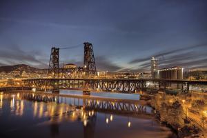 Steel Bridge over Willamette River at Blue Hour by jpldesigns