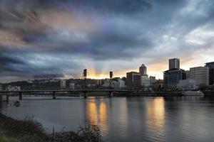Sunset over Portland Willamette River by jpldesigns