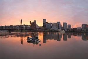 Sunset over Willamette River in Portland by jpldesigns
