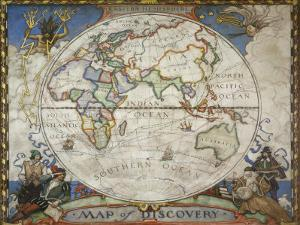 A Map of the Eastern Hemisphere Depicting Famous Explorers Routes Painted in 1927 by Jr Boswell