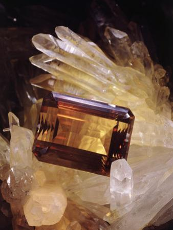 Citrine Resting on a Crystal