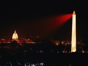 Highly Concentrated Laser Light Flashes Across the Potomac from the Top of the Washington Monument by Jr Boswell