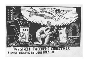 Angel over the head of street sweeper's head as he finds a doll in the trash. - New Yorker Cartoon by Jr. Held