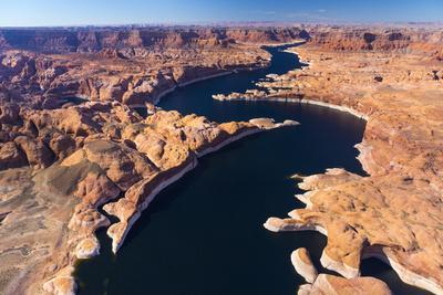 Aerial View of Lake Powell, Near Page, Arizona and the Utah Border, USA, February 2015