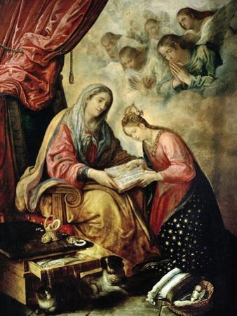 Santa Ana Enseñando a Leer a La Virgen by Juan De Las Roelas