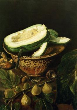 Bowl with Melon, Figs and Mushrooms, 1620 by Juan Fernandez el labrador