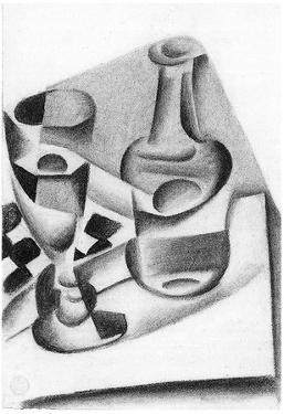 Juan Gris Carafe, Glass and Chessboard Cubism Print Poster