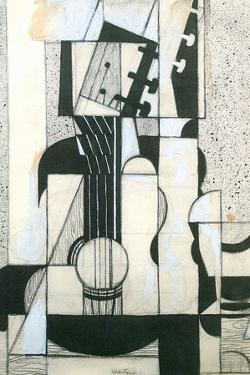 Juan Gris Still Life with Guitar Cubism Plastic Sign by Juan Gris