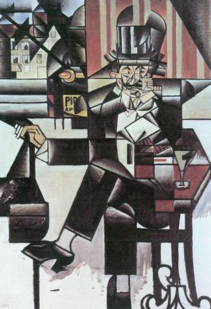Juan Gris Man in Cafe Cubism Art Print Poster