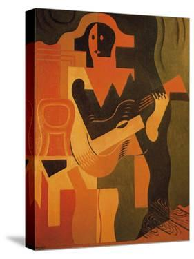 Seated Harlequin with Guitar by Juan Gris
