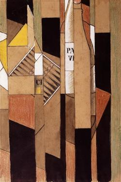 Still-Life with Bottle and Cigars; Nature Morte Avec Bouteille et Cigares, 1912 by Juan Gris
