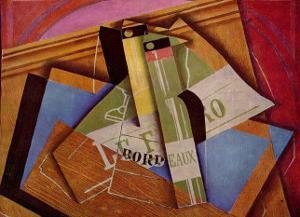 Stilleben mit Bordeuauxflasche by Juan Gris