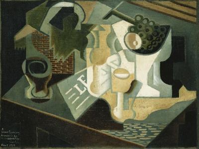 The Table in Front of the Building; La Table Devant Le Battiment, 1919 by Juan Gris