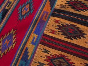 Colorful Hand-Woven Carpet, Oaxaca, Mexico by Judith Haden