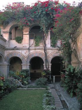 Courtyard of the Camino Real Oaxaca Hotel, Bougainvillea and Garden, Mexico by Judith Haden