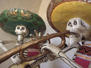 Day of the Dead, Lifesized Wooden Mariachis, Oaxaca, Mexico by Judith Haden