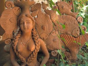 Natural Clay Mermaid and Fish Design, Oaxaca, Mexico by Judith Haden