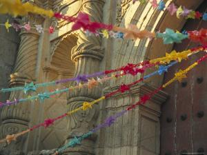 Templo de San Felipe de Neri with Garlands for Dia de la Revolucion, Oaxaca, Mexico by Judith Haden