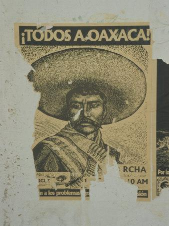 Weathered Street Poster Depicting Pancho Villa, Oaxaca, Mexico