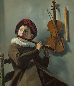 Boy playing the flute by Judith Leyster