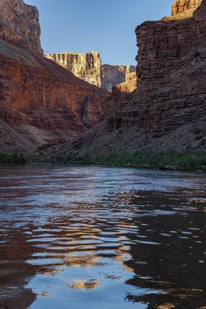 Arizona. Canyon Wall and reflections, float trip down the Colorado River, Grand CanyonNP.