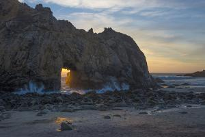 California. Last Light Through the Arch at Pfeiffer Big Sur State Park by Judith Zimmerman