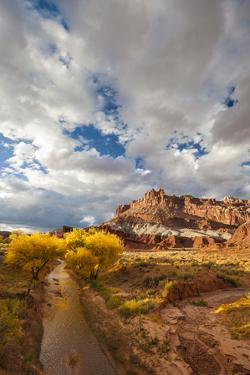 Capital Reef National Park. Autumn Reflections, the Castle and Sulphur Creek by Judith Zimmerman