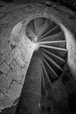 Mexico, Black and White Image of Circular Stone Staircase in Mission De San Francisco San Borja by Judith Zimmerman