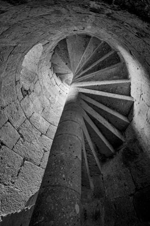 Mexico, Black and White Image of Circular Stone Staircase in Mission De San Francisco San Borja