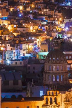 Mexico, the Colorful Homes and Buildings of Guanajuato at Night by Judith Zimmerman