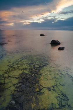 Michigan. Sunset at Fisherman's Island State Park on Lake Michigan by Judith Zimmerman