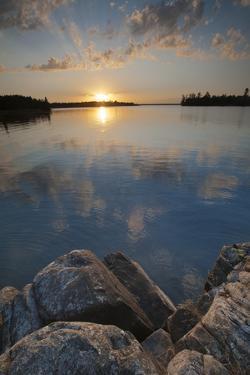 Minnesota, Voyageurs National Park. Sunset on Kabetogama Lake, Voyageurs National Park by Judith Zimmerman