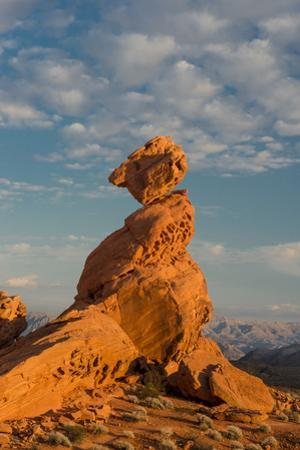 Nevada, Valley of Fire State Park. Sunset on Balancing Rock with Clouds in the Background by Judith Zimmerman