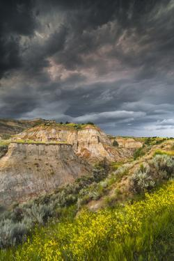 North Dakota, Theodore Roosevelt National Park, Thunderstorm Approach on the Dakota Prairie by Judith Zimmerman