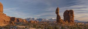 USA, Utah. Panoramic image of Balanced Rock at sunset, Arches National Park. by Judith Zimmerman