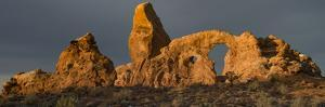 USA, Utah. Turret Arch with a dusting of snow, Arches National Park. by Judith Zimmerman