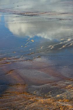 USA, Wyoming. Reflections on Grand Prismatic Springs, Upper Geyser Basin, Yellowstone by Judith Zimmerman
