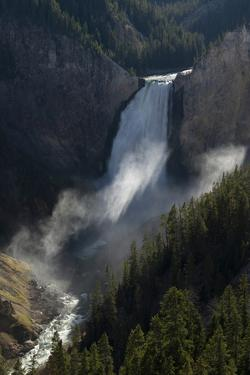USA, Wyoming. Shadows and mist at Lower Yellowstone Falls, Yellowstone National Park. by Judith Zimmerman