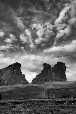 Utah, Arches National Park. Clouds and Rock Formations from Park Avenue Viewpoint by Judith Zimmerman