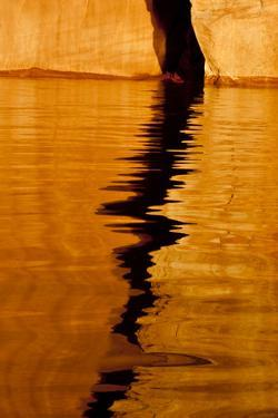Utah. Detail, Colorful Abstract Reflections, Sunrise Reflections Off Tapestry Wall on Lake Powell by Judith Zimmerman