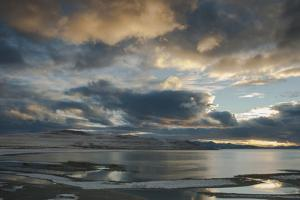 Utan, Antelope Island State Park. Clouds at Sunset over a Wintery Great Salt Lake by Judith Zimmerman