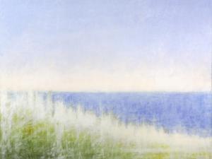 Yellow Beach Grass-Blue Water by Judy Friday