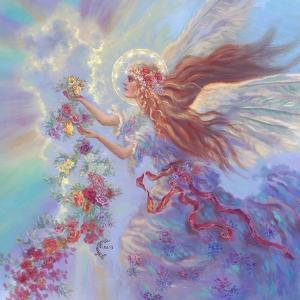 Angel with Flower Garland by Judy Mastrangelo