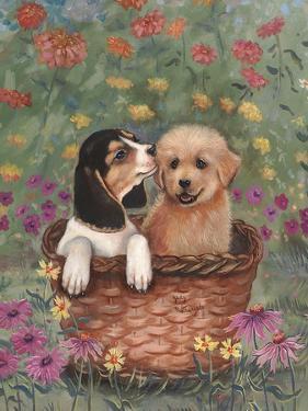 Beagle and Golden Retriever by Judy Mastrangelo
