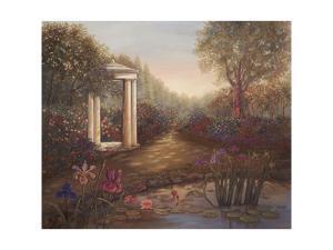 Gazebo with Irises by Judy Mastrangelo