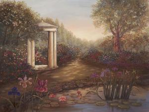 Gazebo with Irises by Judy Mastrangelo